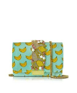 Gedebe   Clicky Azure Snake Leather Banana Clutch
