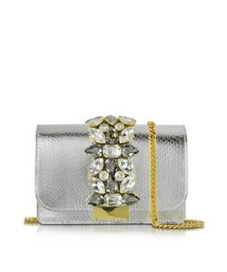 Gedebe   Clicky Snake Leather Clutch