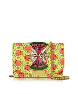 Gedebe   Clicky Snake Leather Watermelon Clutch