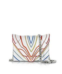 Elena Ghisellini | Felina Mignon White Multilines Leather Clutch