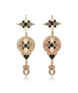 Roberto Cavalli | -Tone And Enamel W/ Crystals Long Earrings