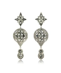 Roberto Cavalli | Two Tone Crystals Drop Earrings