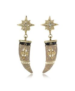 Roberto Cavalli | -Tone Brass Enamel And Crystals Horn Earrings
