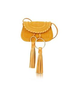 See by Chloé   Polly Honey Suede Leather Mini Crossbody Bag W/Tassels