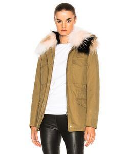 Army Yves Salomon | Cotton Jacket With Raccoon Fur