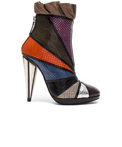 Rodarte | Embossed Metallic Leather Ankle Booties