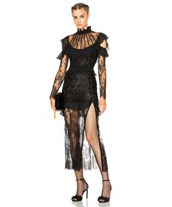 Alessandra Rich | Lace Decollete Chantilly Lace Dress
