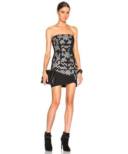 Jay Ahr | Strapless Lazer Cut Dress