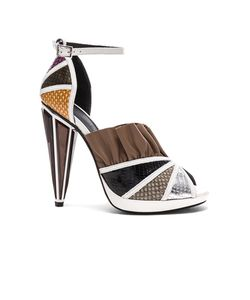 Rodarte | Embossed Metallic Leather Strap Heels