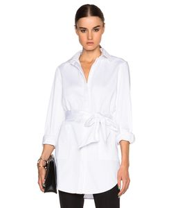 Sally Lapointe | Stretch Cotton Oversized Shirt With Wrap Belt