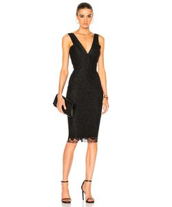 Victoria Beckham | Lace V Neck Fitted Dress
