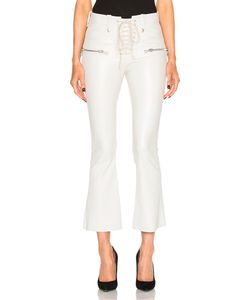 Unravel | Lace Front Crop Flare Leather Pants