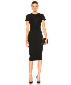 Victoria Beckham | Matte Crepe Lace Insert Short Sleeve Fitted Dress