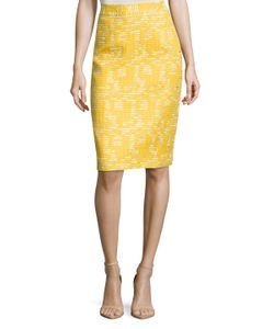Oscar de la Renta | Cotton Embroide Pencil Skirt