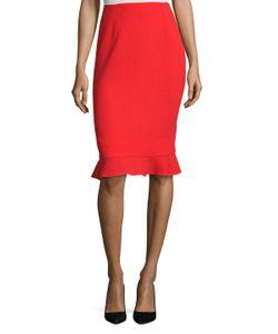 Oscar de la Renta | Wool Ruffle Hem Pencil Skirt
