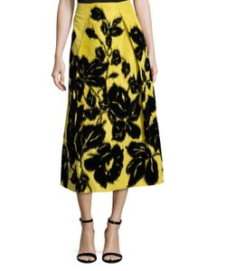 Carolina Herrera   Silk Embroide Midi Skirt