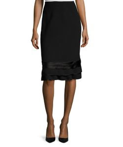 Oscar de la Renta | Wool Ruffle Pencil Skirt