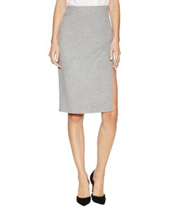 Ji Oh | Classic Wool Slit Pencil Skirt