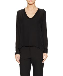 Ji Oh | Silk Long Sleeve Scoopneck Blouse