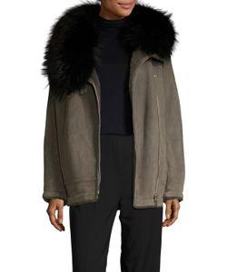 Meteo By Yves Salomon   Leather Fur Trim Hood Coat