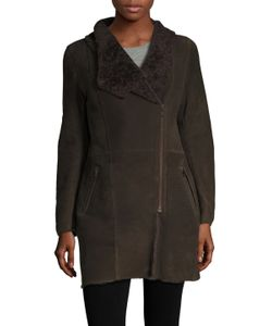 Meteo By Yves Salomon   Leather Stand Collar Coat