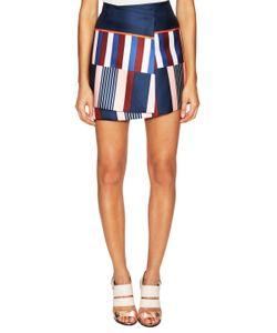 Suno   Asymmetrical Broken Stripe Mini Skirt