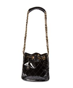 Chanel | Vintage Quilted Patent Leather Chain Bucket