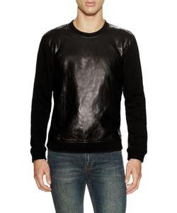 Blk Dnm | Leather Front Sweatshirt