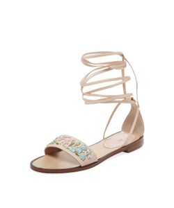 RED Valentino   Beaded Lace-Up Sandal