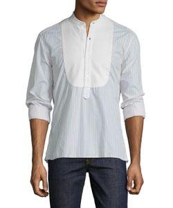 Michael Bastian | Band Collar Stripe Tuxedo Shirt