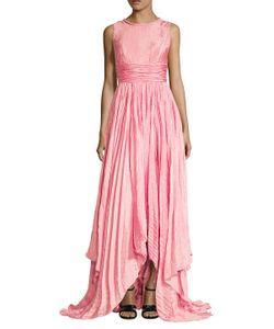 Oscar de la Renta | Pleated High-Low Gown