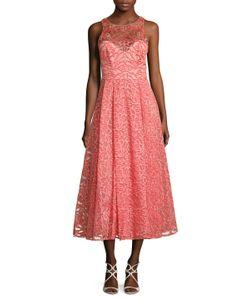 Marchesa Notte | Embroide Halter Neck A Line Dress