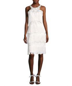 Marchesa Notte | Appliqueacute Fringe Knee Length Dress