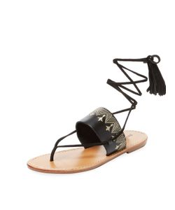 Soludos   Embroide Leather Lace-Up Sandal