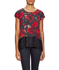 Anna Sui | Flower Print Lace Trimmed Top