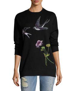 EIGHT DREAMS   Bird Flower Embroide Side Zipped Sweatshirt