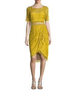 Marchesa Notte | Lace Scalloped Knee Length Dress