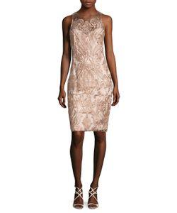 Marchesa Notte | Embroide Mesh Sheath Dress