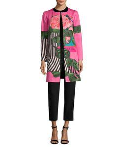 Mary Katrantzou | Silk Print Quilted Collarless Coat