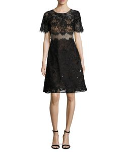 Marchesa Notte | Lace Fit And Flare Dress