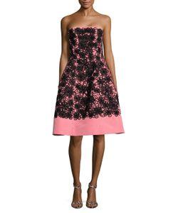 Oscar de la Renta | Silk Strapless Embroide Fla Dress