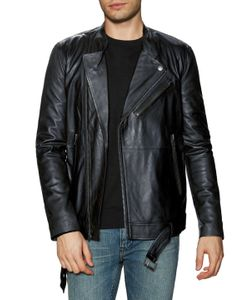 Blk Dnm | Leather Stand Collar Motorcycle Jacket
