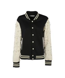 Night Market | Black-Cream Embroidered Bomber Jacket