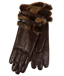 Restelli | Nappa Leather Gloves With Fur Cuffs And Leather Belts