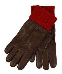 Restelli | Deer Gloves With Stitching In Contrast And Knitted Cuff