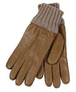Restelli | Deer Gloves With Knitted Cuff Stitching In Contrast