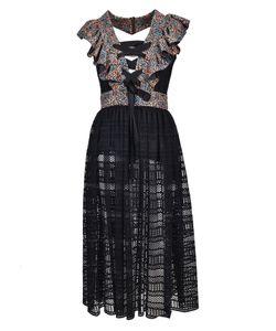 Philosophy di Lorenzo Serafini | Lace-Up Ruffled Sheer Dress From Lace-Up