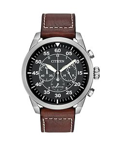 CITIZEN | Ca4210-24e Mens Avion Chronograph Date Leather Strap Watch /