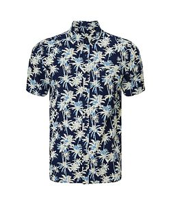 Edwin | Standard Palm Tree Print Short Sleeve Shirt Dark Indigo
