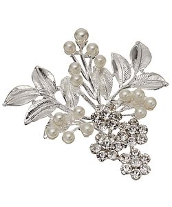 John Lewis | Faux Pearl And Glass Crystal Leaf Brooch